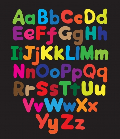 Alphabet bubble colored hand drawing in black background Vector