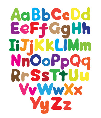 Alphabet bubble colored hand drawing in white background Vector