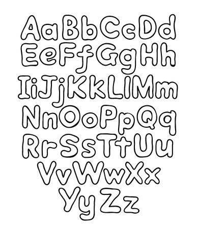 Alphabet bubble contour drawn hands Vector