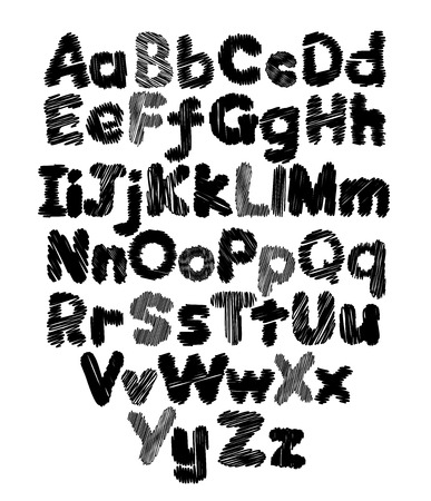 Alphabet doodle hand-drawing in white background Vector