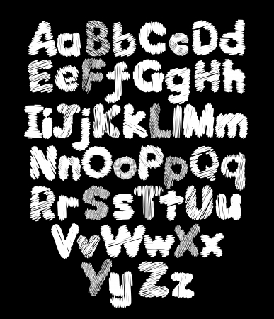 Alphabet doodle hand-drawing in black background Vector