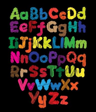 Alphabet kids doodle colored hand drawing in black background Illustration