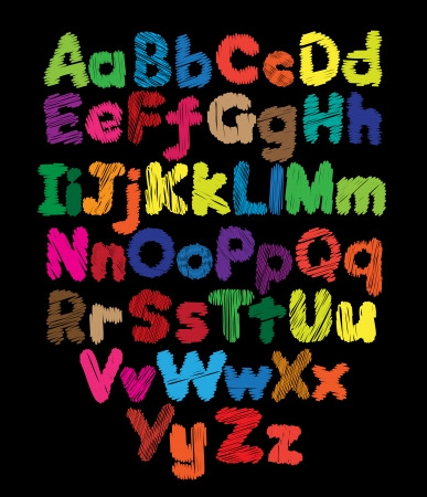Alphabet kids doodle colored hand drawing in black background Ilustração