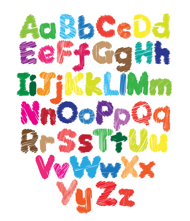 Alphabet kids doodle colored hand drawing in white background