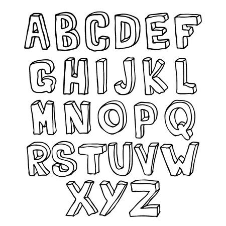 Hand gezeichnet Schriftzug 3D-Alphabet Standard-Bild - 25326642