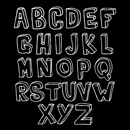 Hand drawn Lettering 3D alphabet
