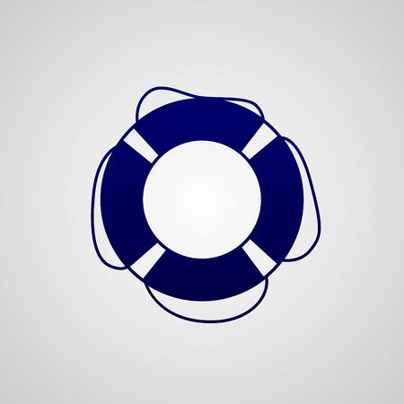 Simple dark blue icon lifebuoy isolated on white background