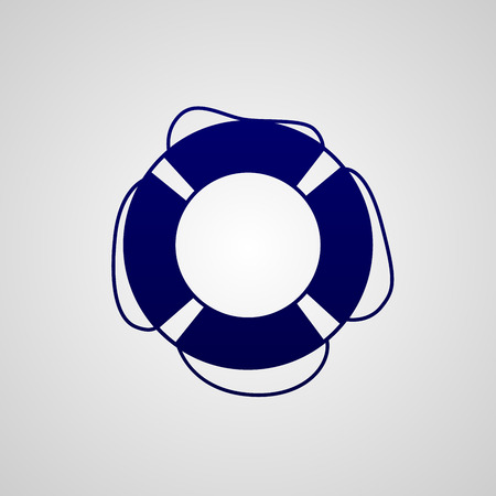 Simple dark blue icon lifebuoy isolated on white background