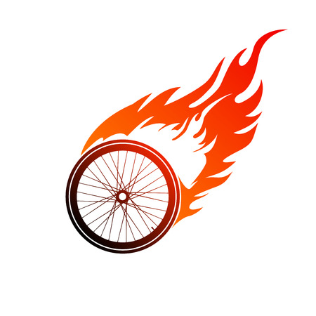 Red orange logo burning of a bicycle wheel Vector