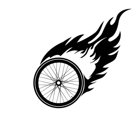 one wheel bike: Black and white  the burning of a bicycle wheel Illustration