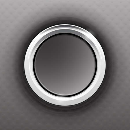 Gray button with a steel ring and texture Vector