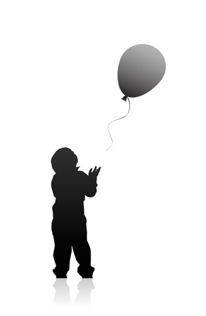 Vector illustration silhouette little boy the issuing balloon Vector