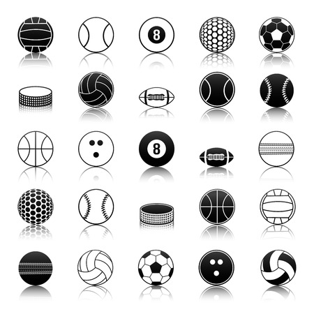 cricket ball: Vector set of balls and sports equipment