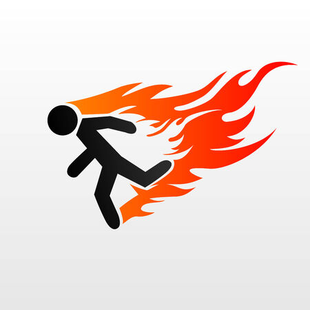 burning man: Vector illustration of a burning symbol of running man