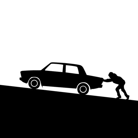 Silhouette of man pushing a car up the hill