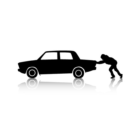 Vector silhouette of a man pushing a broken car Vector