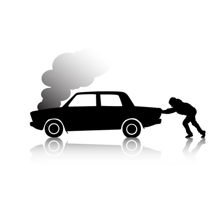 overheated: Silhouette of man pushing a broken car steaming Illustration