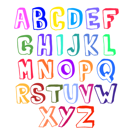 Multicolored bright voluminous set of hand drawn letters