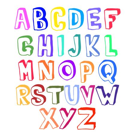 voluminous: Multicolored bright voluminous set of hand drawn letters
