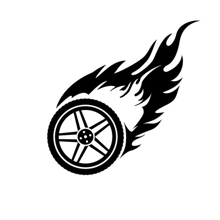 Black and white logo of a burning car wheel