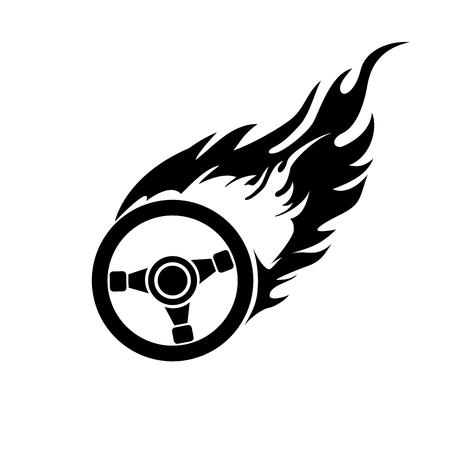 black and white logo burning automobile steering