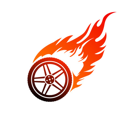 Red and orange burning car wheel 向量圖像
