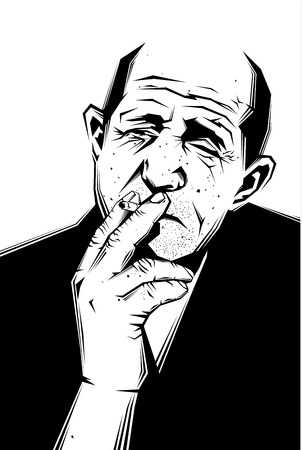 man face profile: Vector black and white illustration of a sad old man smoking a cigarette