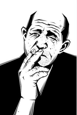 hombre fumando puro: Vector ilustraci�n en blanco y negro de un hombre viejo y triste que fuma un cigarrillo Vectores