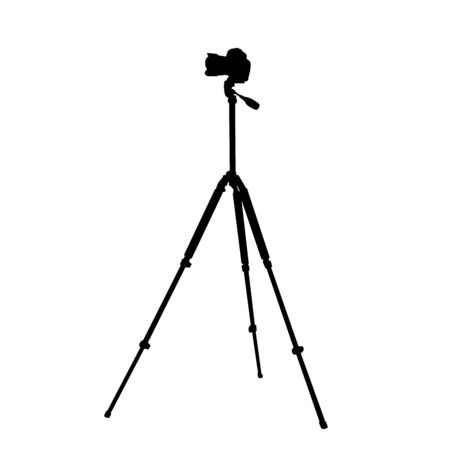 Silhouette of the camera on a tripod