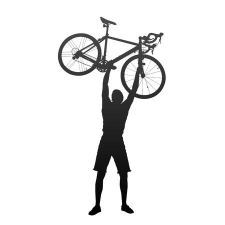 Silhouette de l'homme avec les mains sur les vélos de course Banque d'images - 31496098