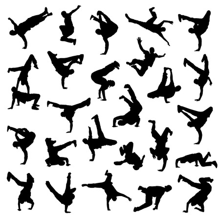 hip hop dance pose: Romper siluetas Danza Vectores