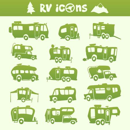 Vector green recreational vehicle shape cartoon set  イラスト・ベクター素材