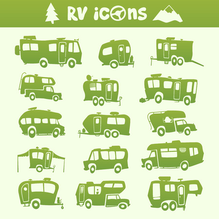Vector green recreational vehicle shape cartoon set Illustration