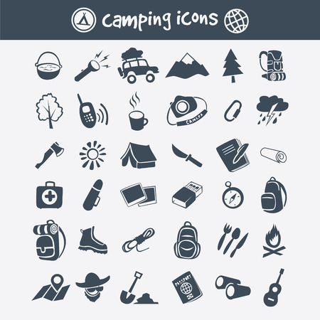 summer season: Vector camping icon set. Tourism and travel