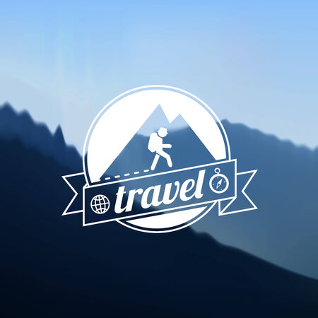 travel logo: Tourism travel logo design on blurred background of mountains Illustration