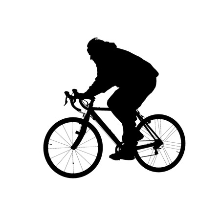 Silhouette of man riding on a sports bicycle Illustration