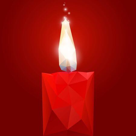 candles: Polygonal red burning candle