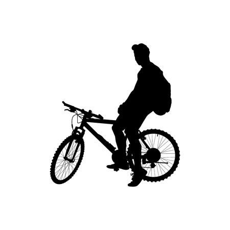 man with a backpack on a bicycle Ilustrace