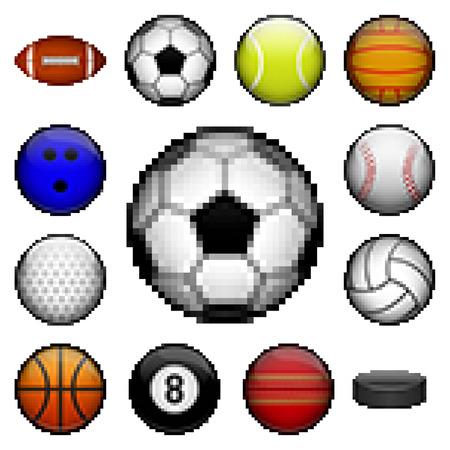 Pixel sports balls Vector