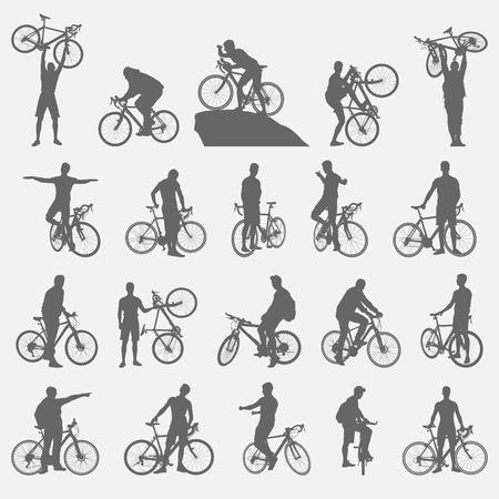 mountain bike: bicyclists silhouettes set
