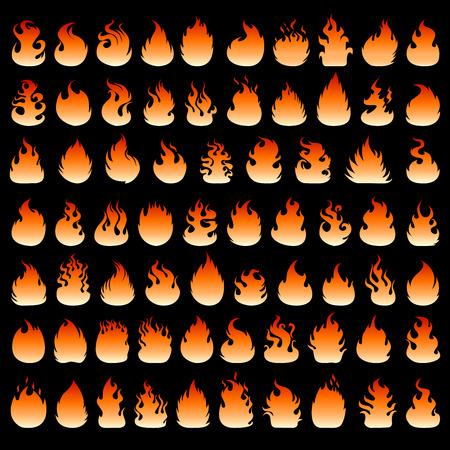 Fire flames set Illustration