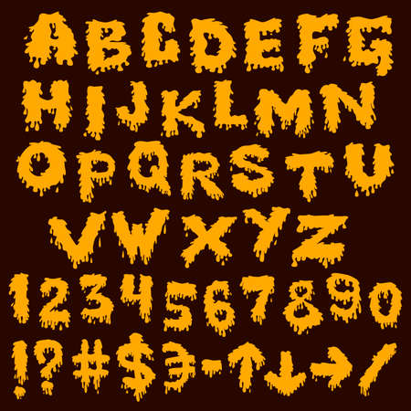 Yellow font smudges. alphabet splashing Vector