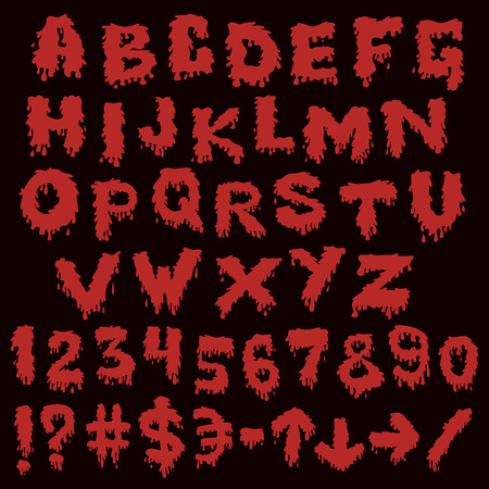 smudges: Red font smudges. alphabet splashing