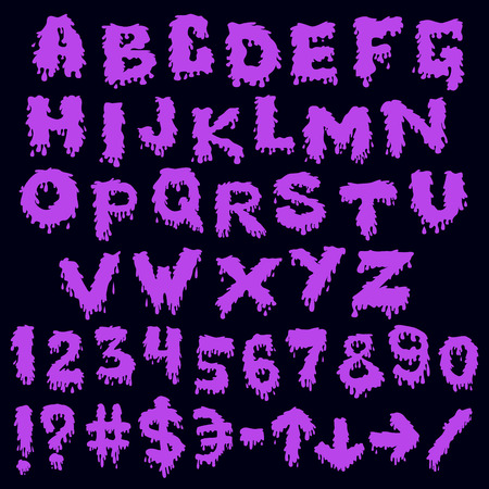 smudges: Purple font smudges. alphabet splashing Illustration