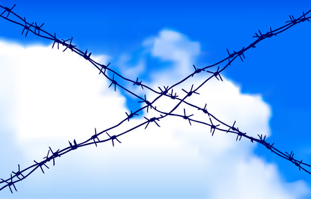 rope barrier: Barbed wire Illustration
