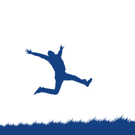 man jumping: Silhouette of a man jumping over the grass Illustration