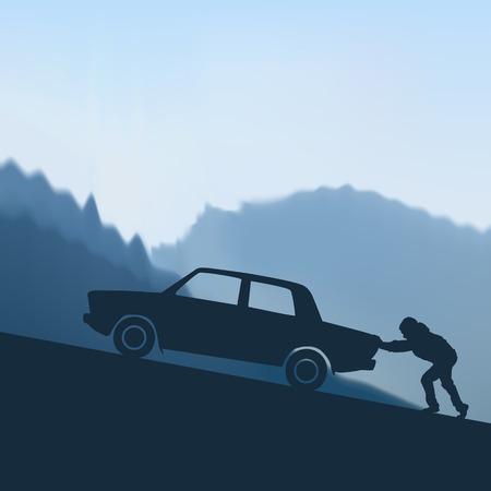 empujando: empujando un coche