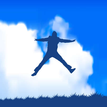freedom of expression: man jumping