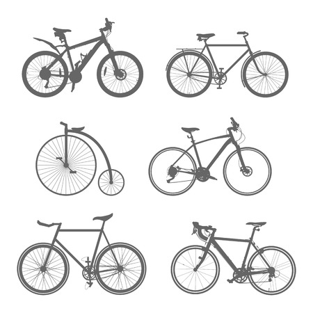 bicycle wheel: set of silhouettes bicycles