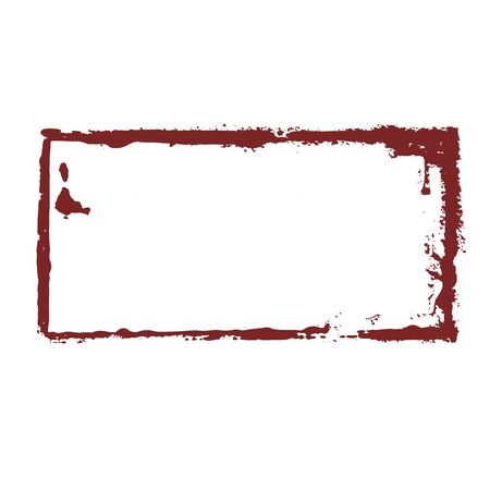 Dirty sloppy red rectangular stamp imprint on a white background